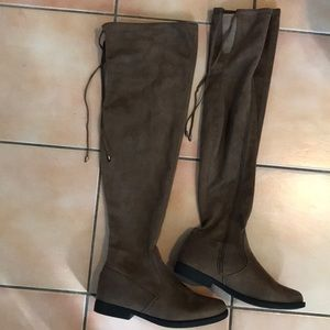 TOP MODA OTK Brown Suede Flat Boots Size 9